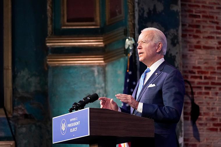 President-elect Joe Biden speaks in Wilmington, Delaware,on January 14.