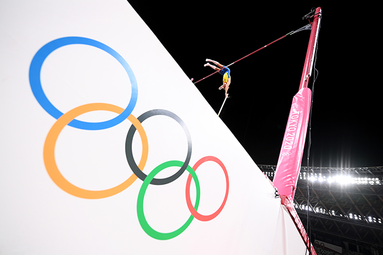 Armand Duplantis of Team Sweden during the Men's Pole Vault Final on day eleven of the Tokyo 2020 Olympic Games at Olympic Stadium on August 3, 2021.