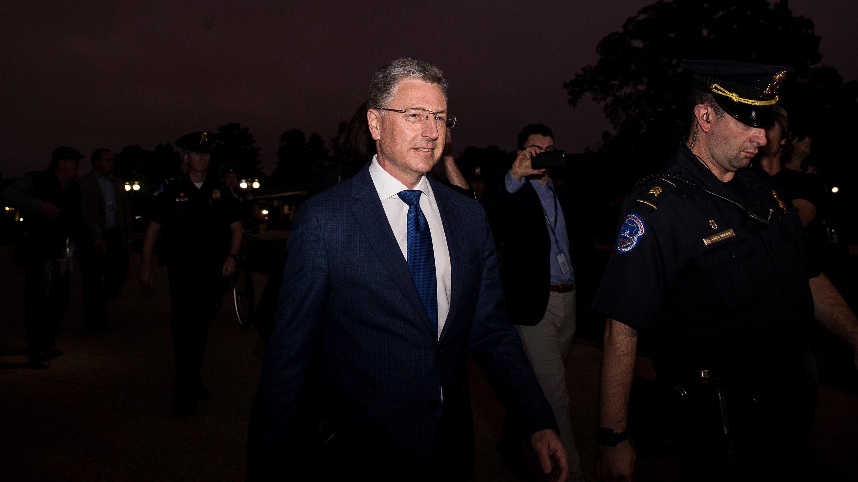 Kurt Volker departs following a closed-door deposition on Capitol Hill, October 3.
