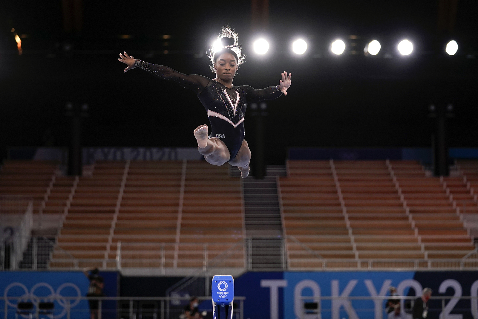 Simone Biles trains on the beam during a practice session in Tokyo, on July 22, 2021.