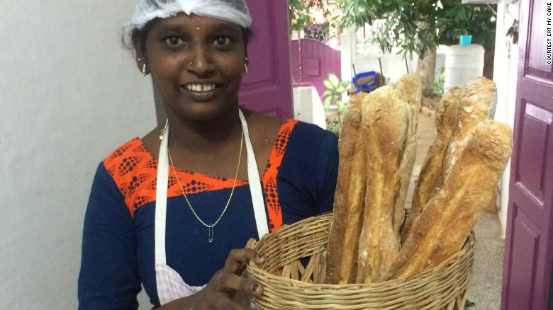 Janaki, an employee at Eat My Cake for several years, delivers bread to local restaurants.