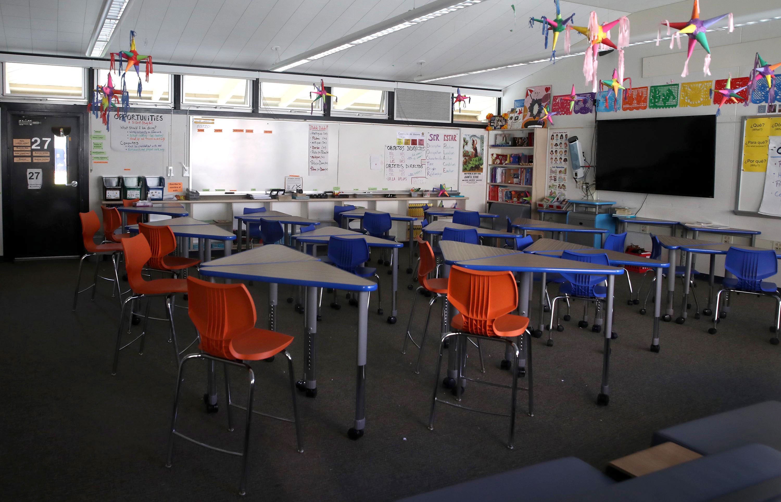 An empty classroom in seen at Kent Middle School on April 1 in Kentfield, California.