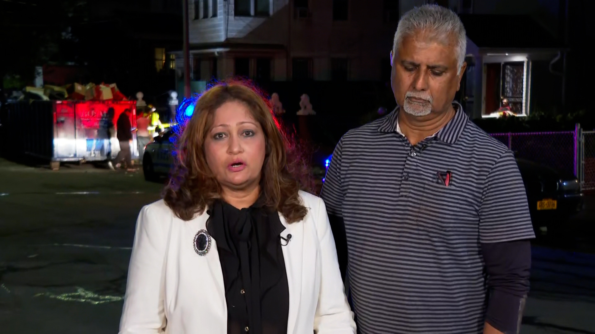 Amrita Bhagwandin, left, speaks alongside her husband, Sahadeo Bhagwandin, during an interview on September 2.