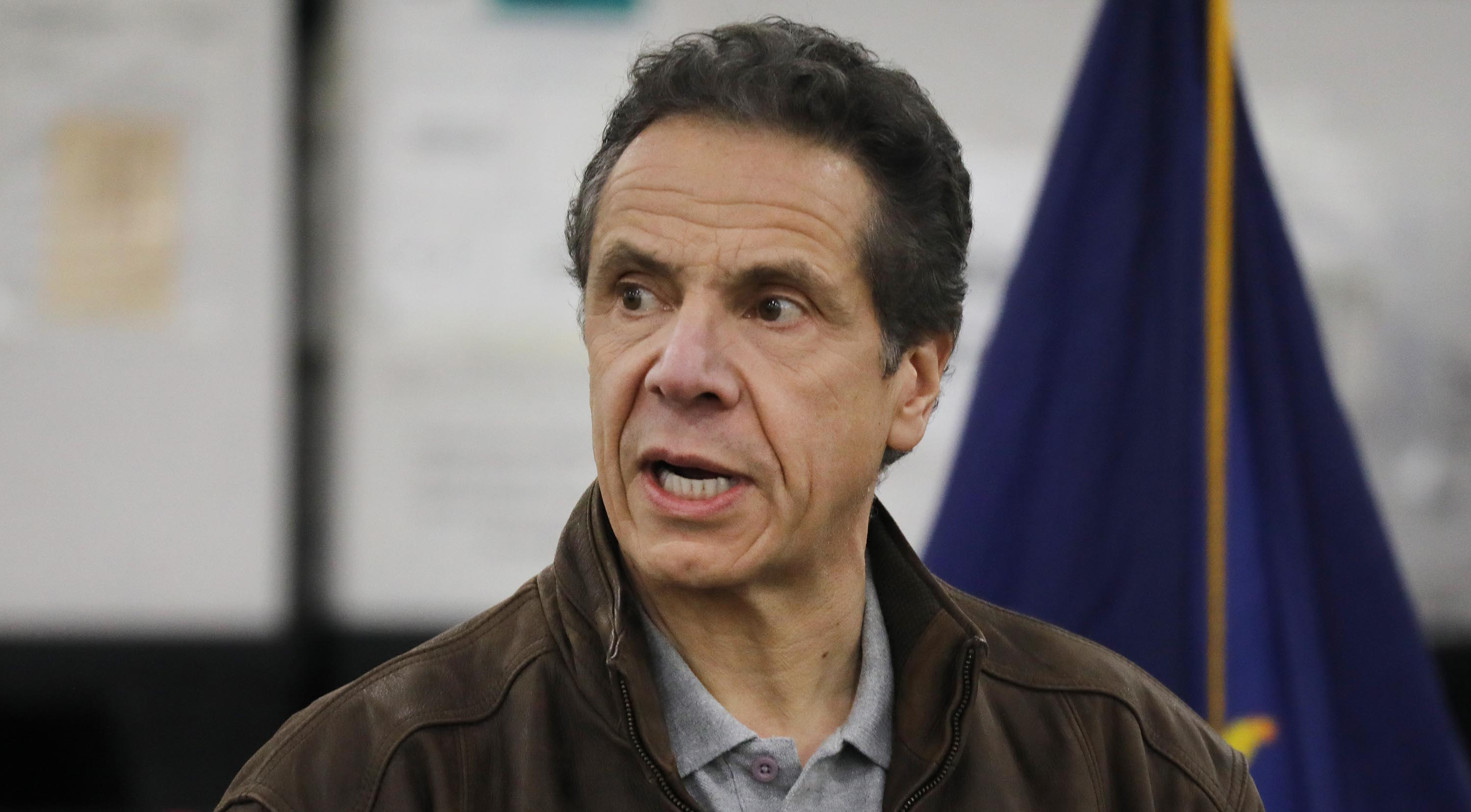 New York Governor Andrew Cuomo speaks to the media and members of the National Guard on March 23, in New York City.
