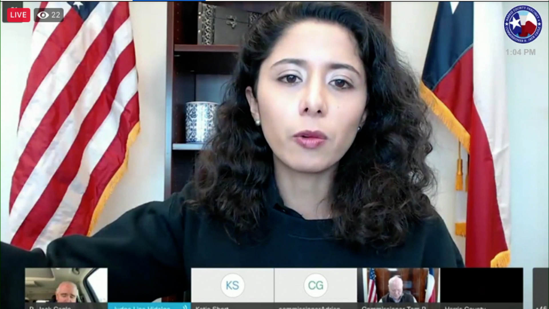 Harris County Judge Lina Hidalgo speaks during a virtual call with other county officials on February 19.