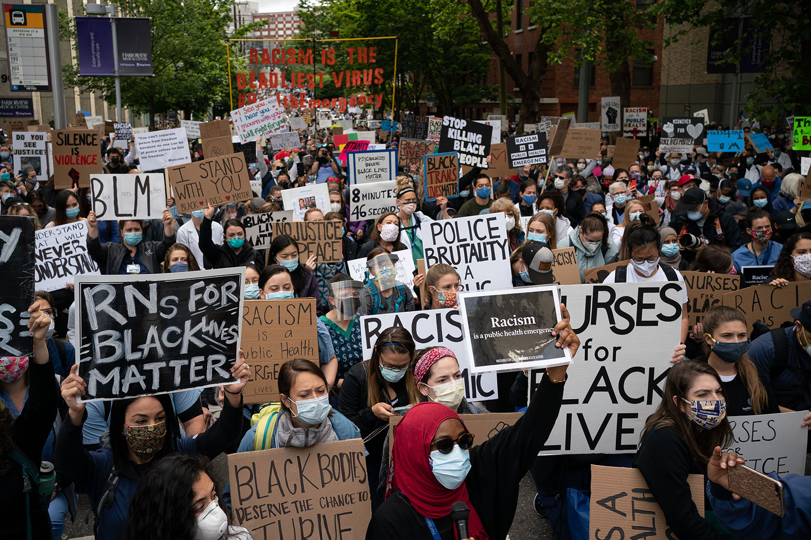 People march during a protest in Seattle on June 6.