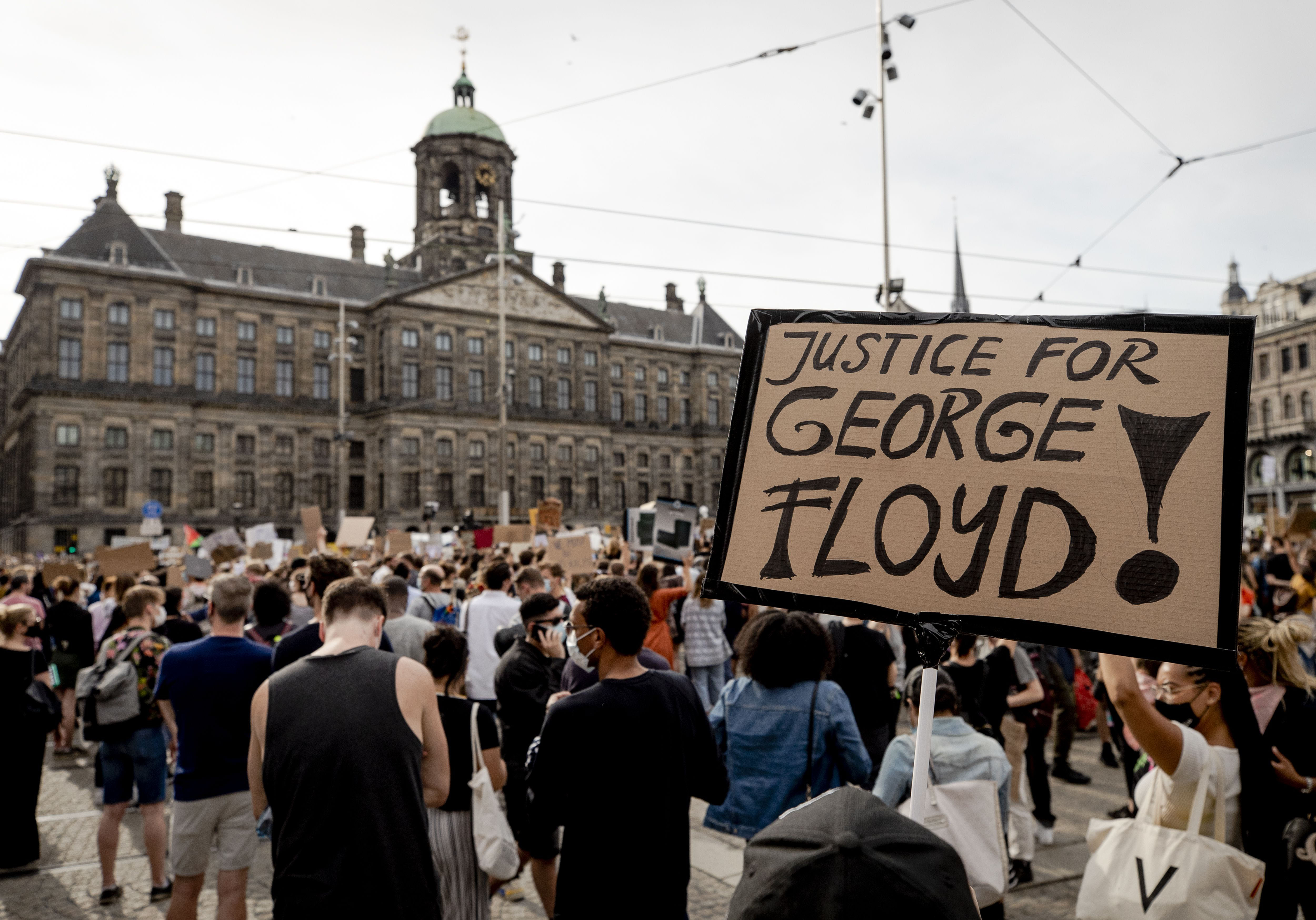 People protest in Amsterdam, Netherlands, on June 1.