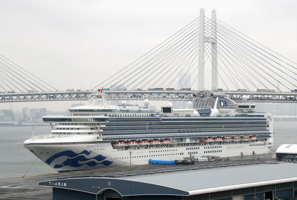 Photo taken Feb. 26, 2020, shows the coronavirus-hit Diamond Princess cruise ship at Yokohama Port near Tokyo.