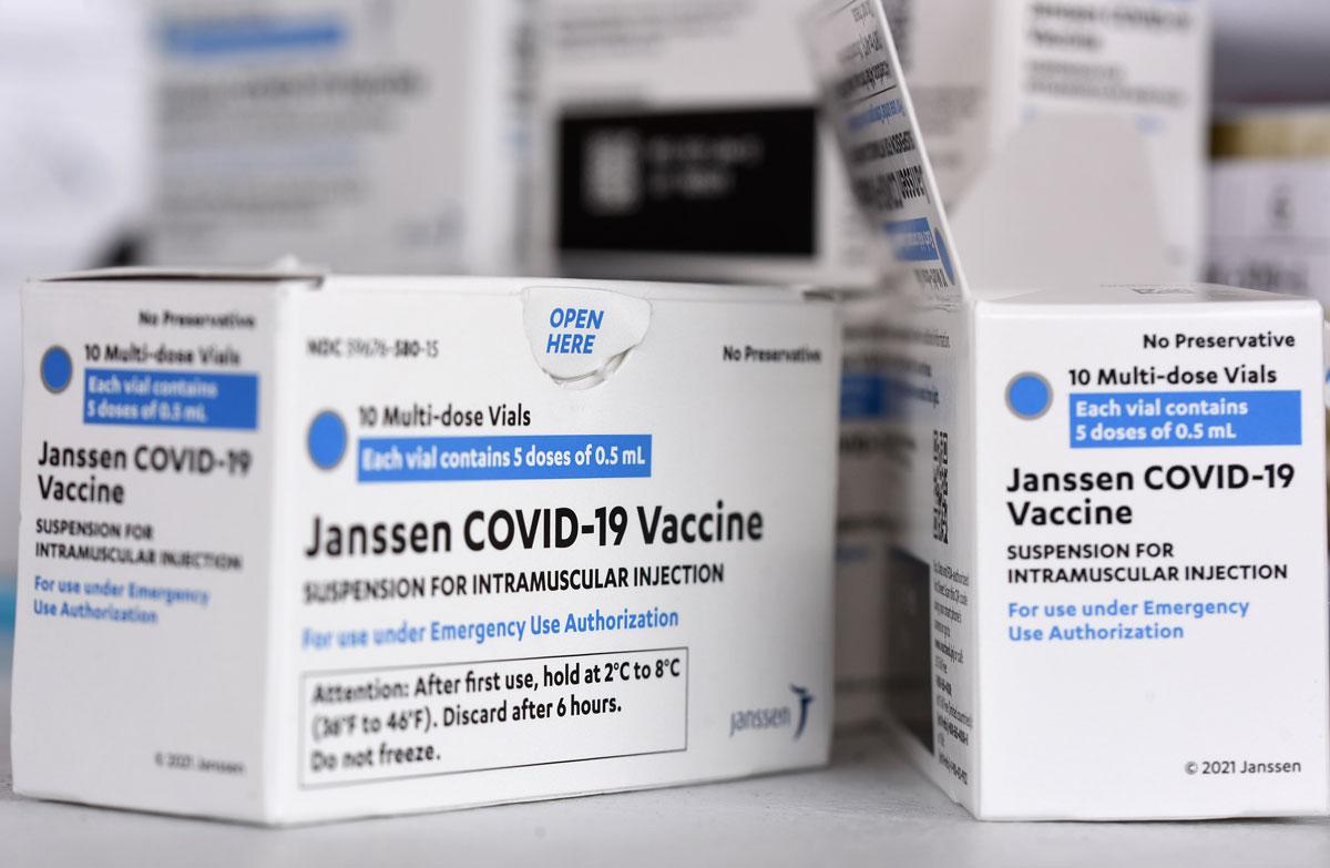 Johnson & Johnson Covid-19 vaccine boxes are seen at a vaccination site in Orlando, Florida on April 10.