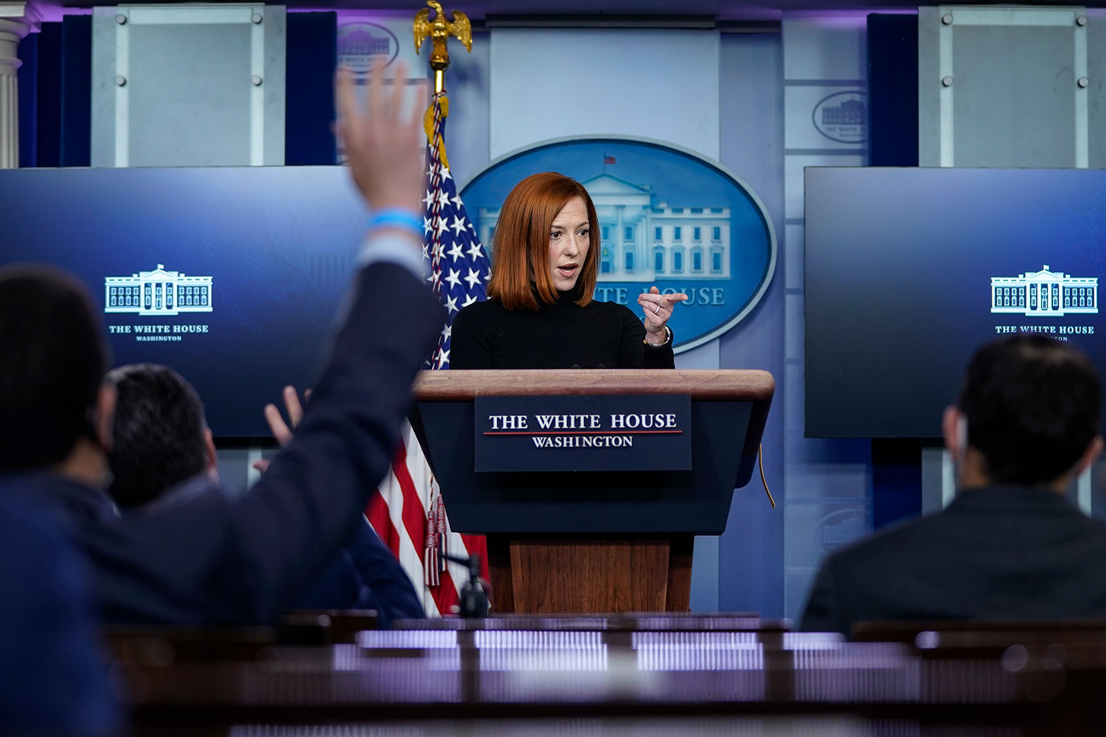 White House press secretary Jen Psakispeaks during a press briefing at the White House on February 16.