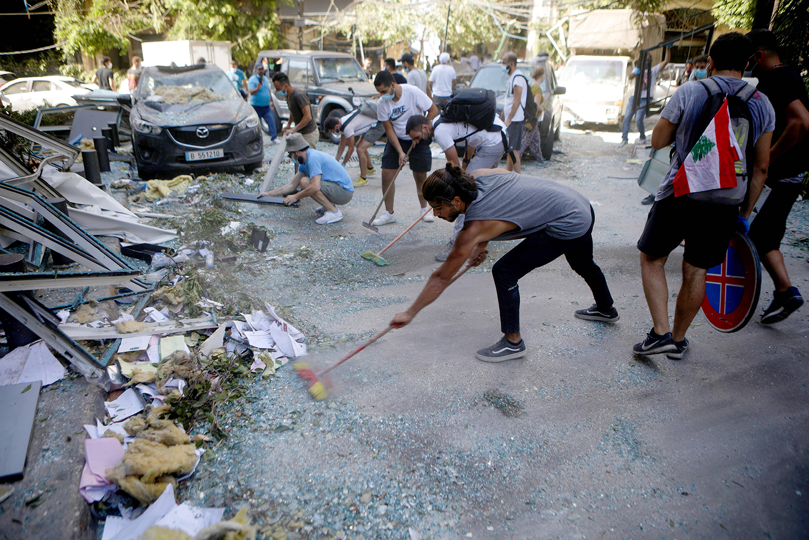 Lebanese activists are taking part in a campaign to clean up the damaged Gemmayze district of Beirut on August 5.