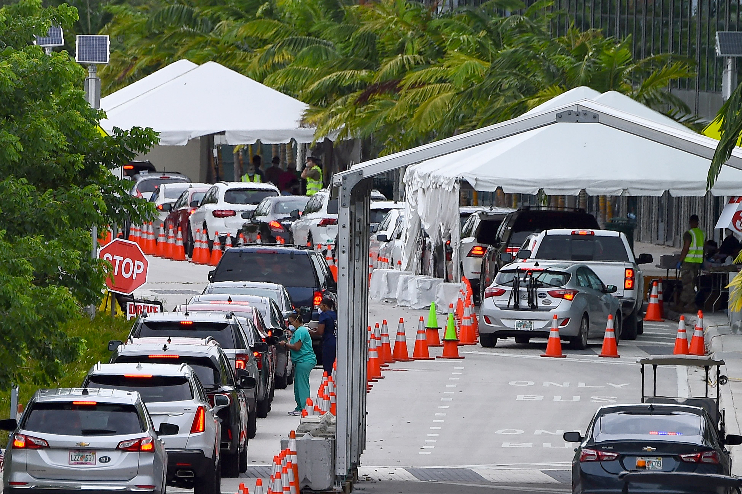 Motorists line up for Covid-19 tests on July 22 on Miami Beach, Florida.
