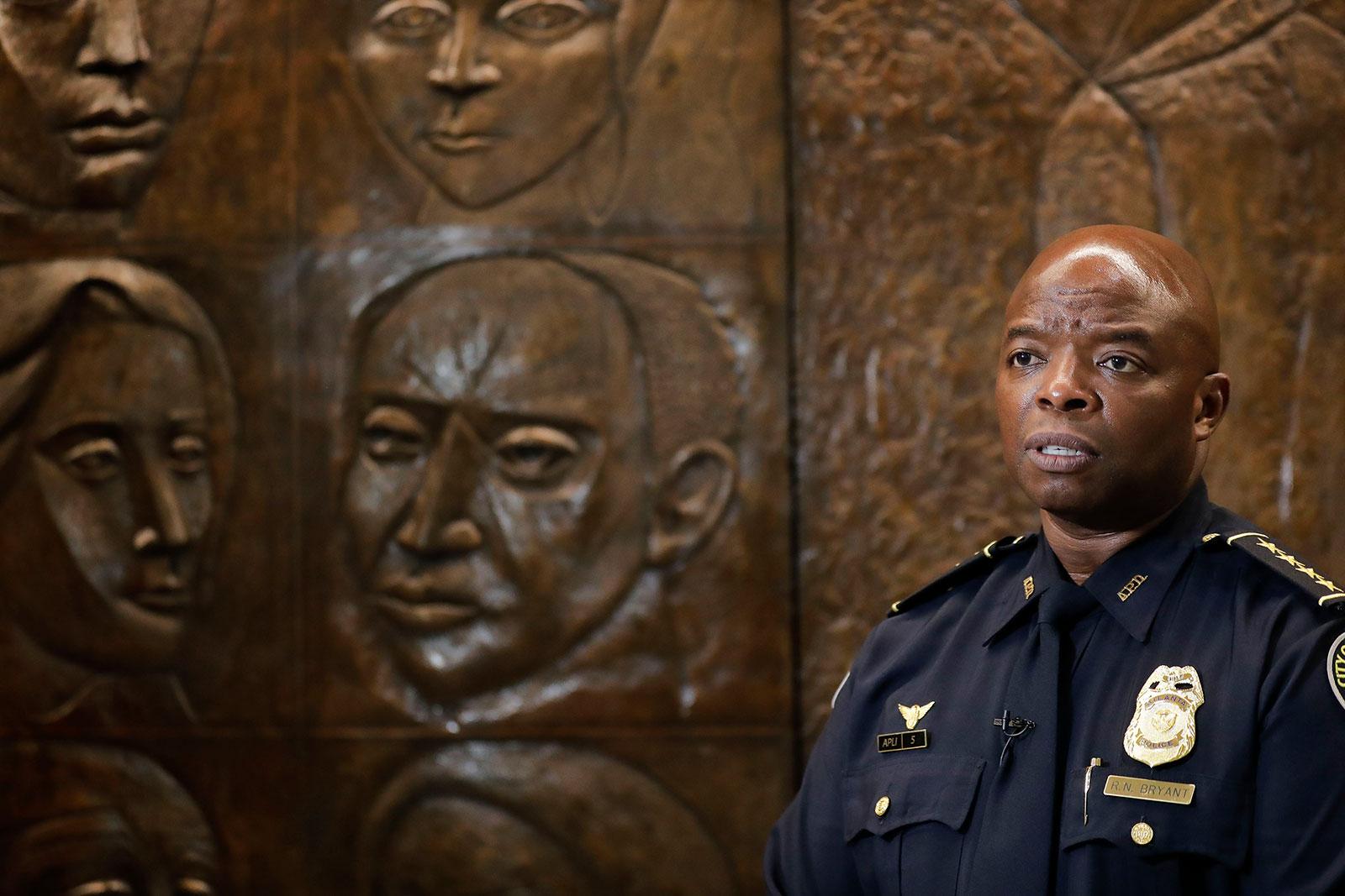 Interim Atlanta Police Chief Rodney Bryant speaks to the Associated Press on Thursday, June 18.