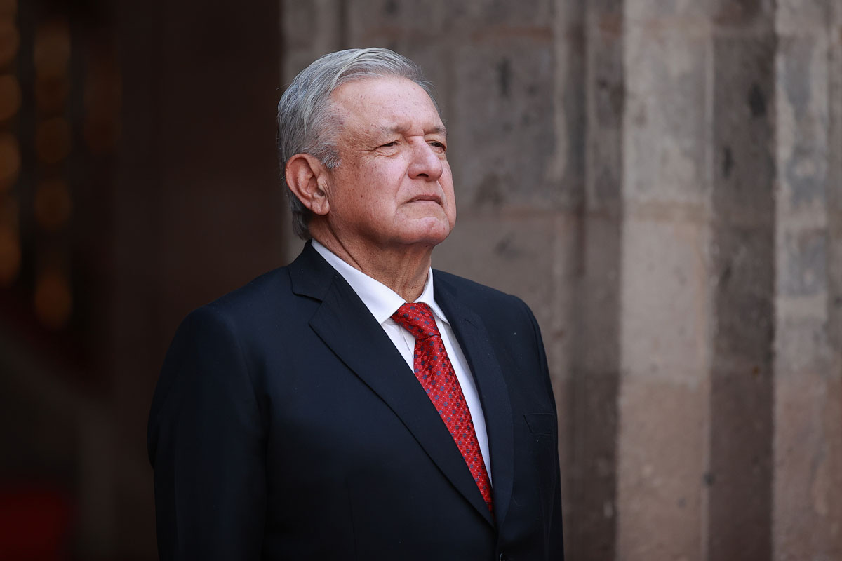 Mexican President Andres Manuel Lopez Obrador looks on during a during a ceremony at Palacio Nacional in Mexico City, Mexico on February 23.