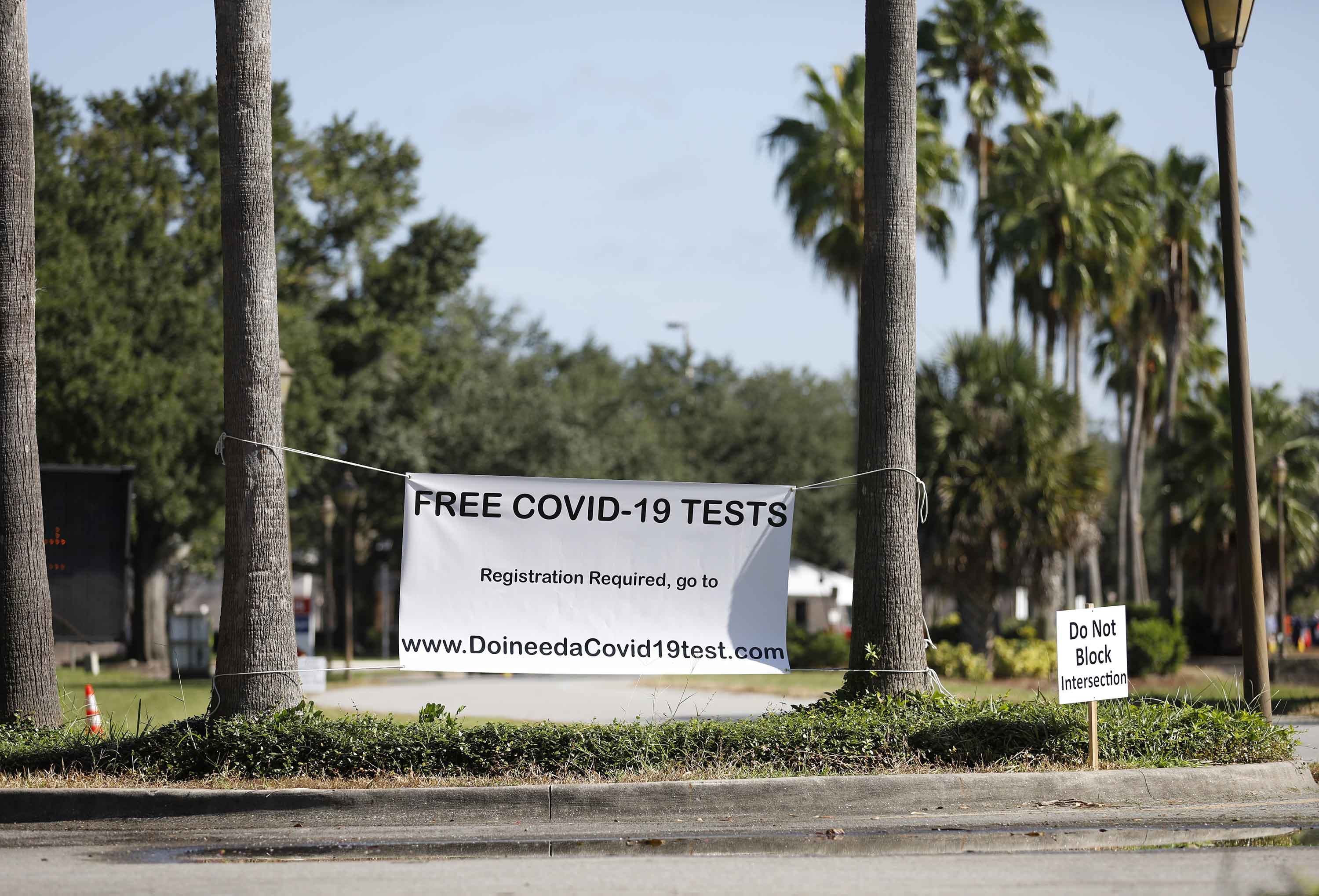 A Covid-19 testing site is pictured at the Maingate Complex at Walt Disney World in Kissimmee, Florida, on August 14.