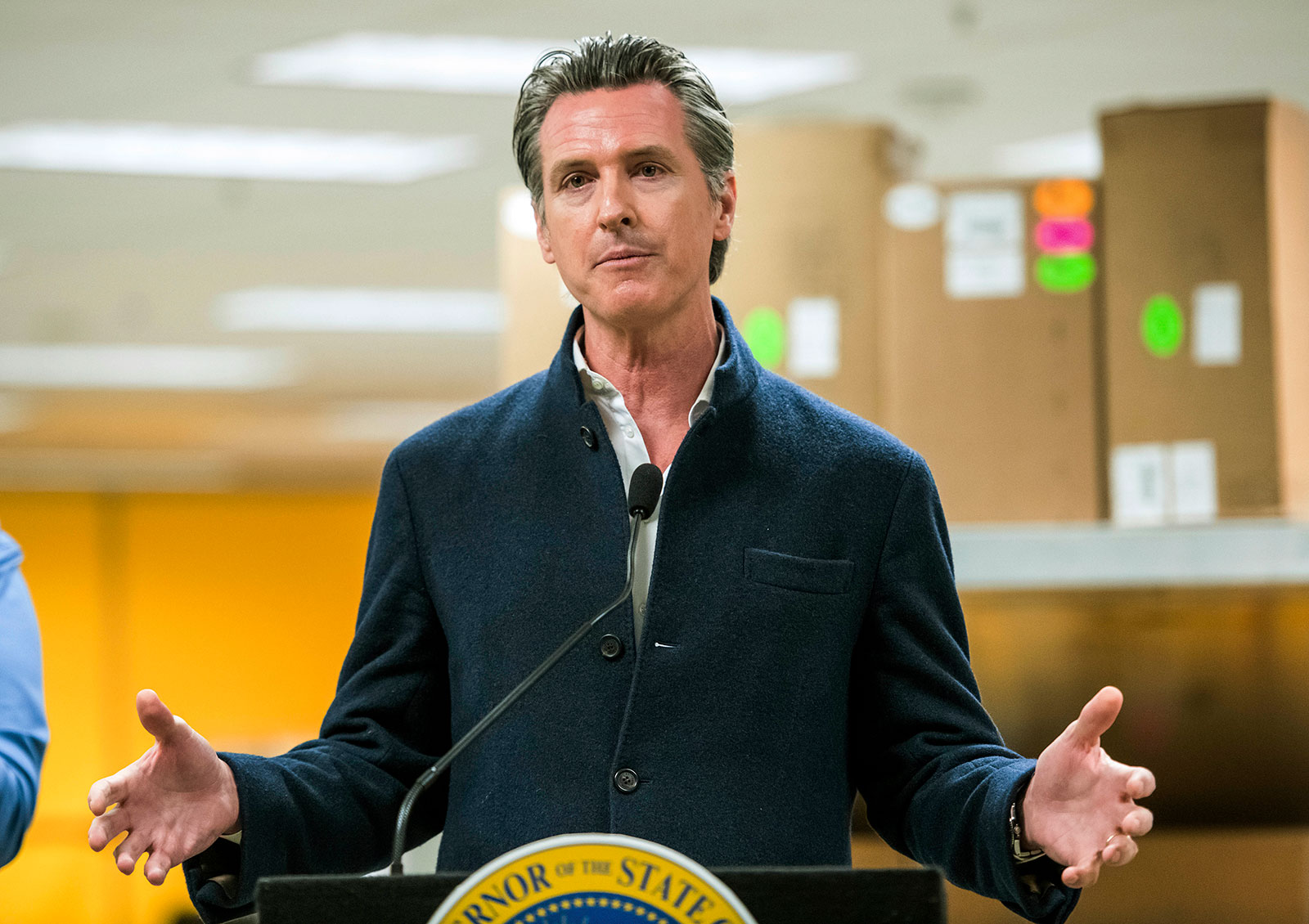 California Gov. Gavin Newsom speaks during a news conference at the Bloom Energy campus in Sunnyvale, California, on Saturday, March 28.