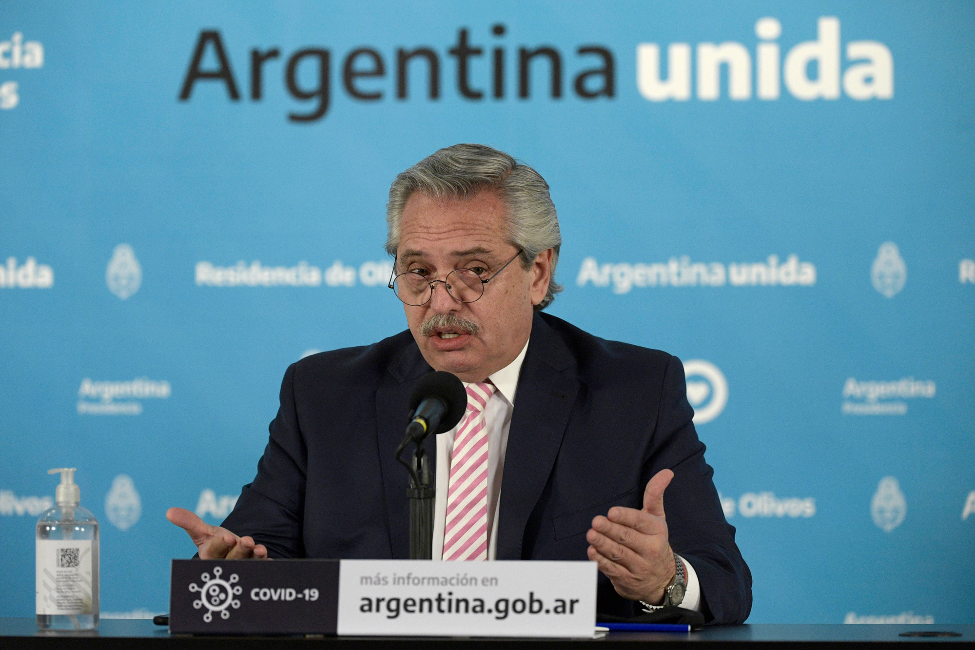 President of Argentina Alberto Fernandez speaks during a press conference on August 12 in Olivos, Argentina.