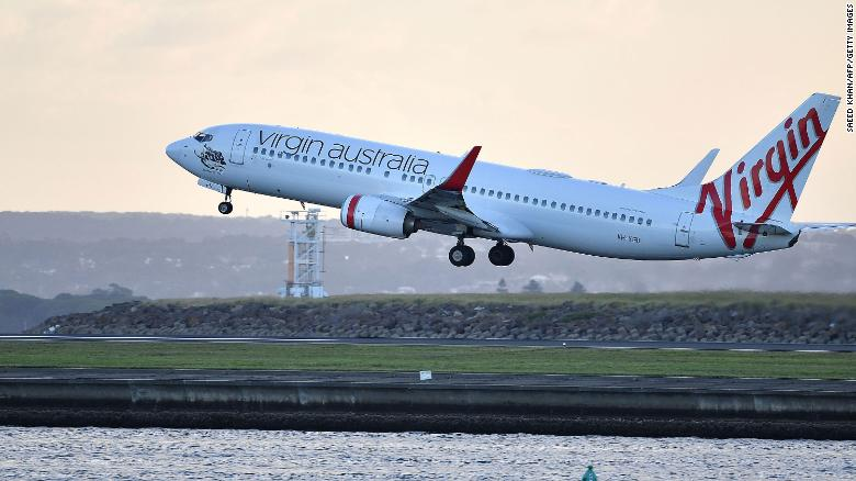 A Virgin Australia flight taking off from Sydney International Airport in March.