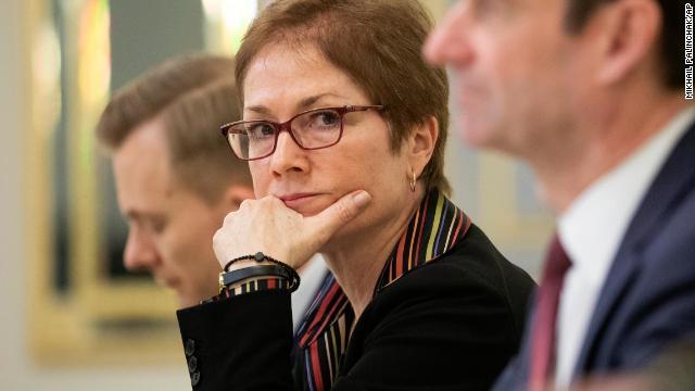 US Ambassador to Ukraine Marie Yovanovitch, center, is pictured in Kiev, Ukraine, on March 6, 2019.