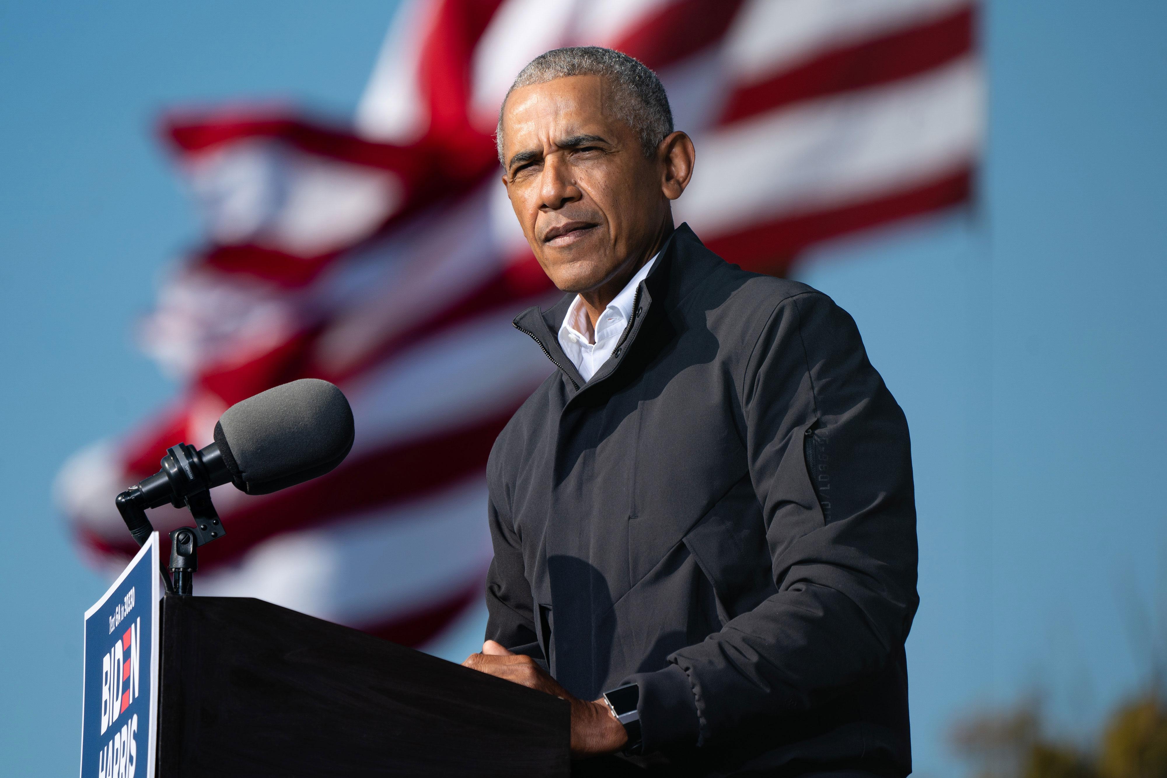 Former US President Barack Obama campaigns for then-presidential nominee Joe Biden in Atlanta on November 2, 2020.
