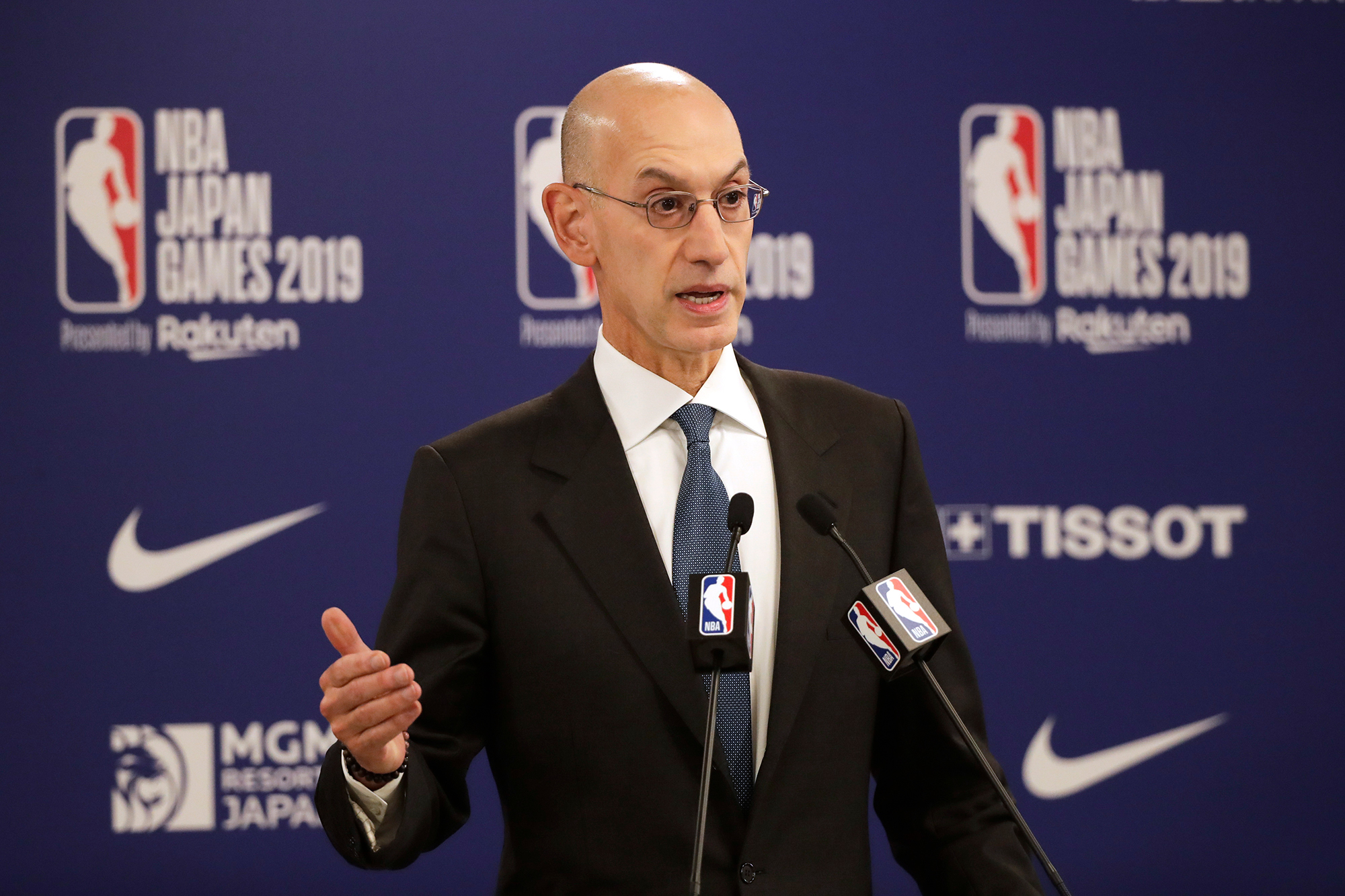 In this October 8, 2019 file photo, NBA Commissioner Adam Silver speaks at a news conference near Tokyo.