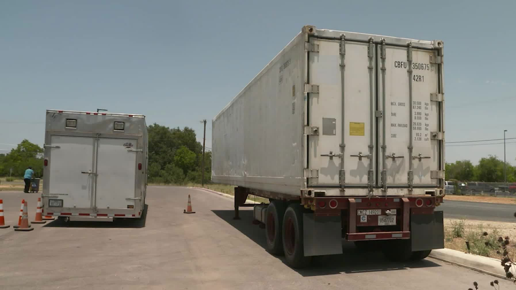 Refrigerated trailers arrive in San Antonio.