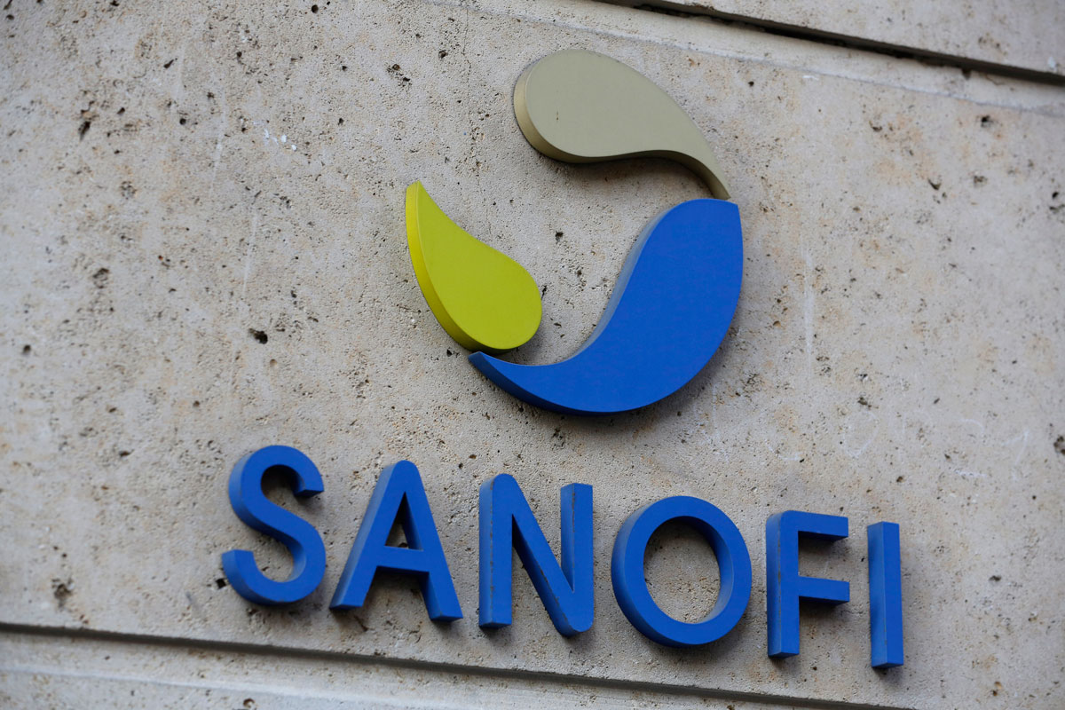 The logo of French drug maker Sanofi is pictured at the company's headquarters in Paris on November 30, 2020.