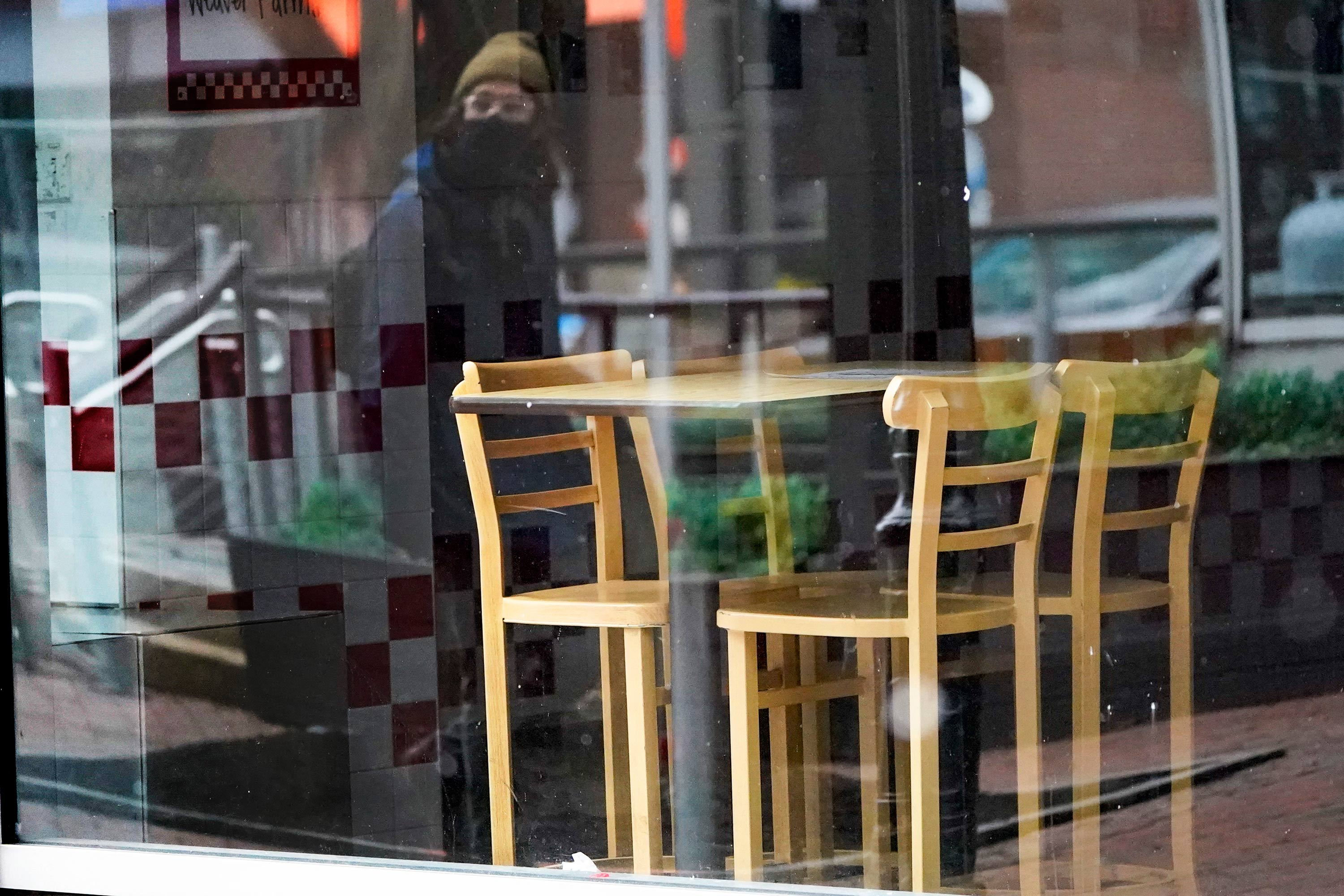 An empty restaurant is seen in downtown Pittsburgh, Pennsylvania, on January 17.