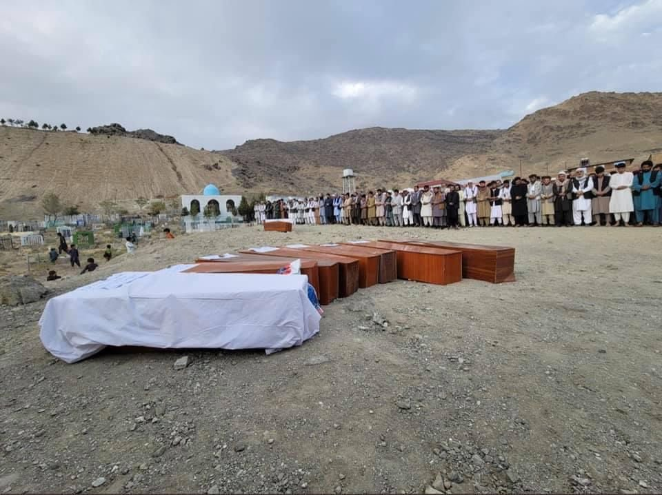 A funeral is held for the victims who were killed in a US defensive airstrike in Kabul, Afghanistan, on Sunday.