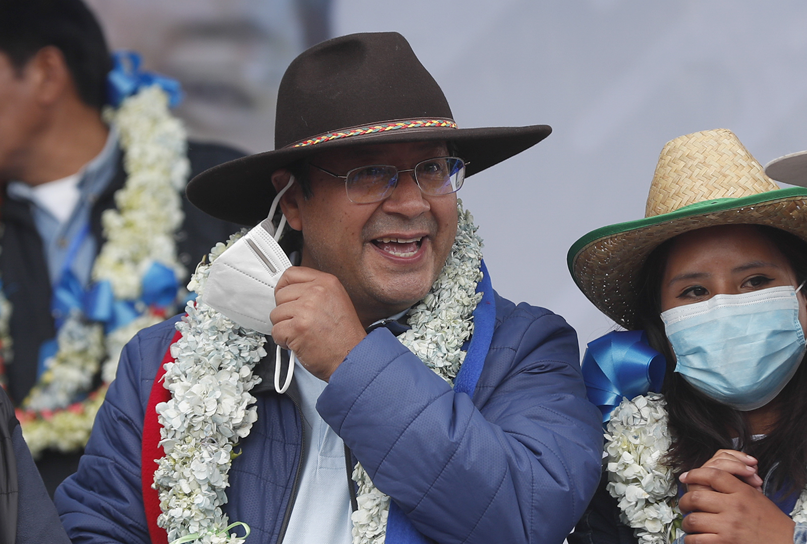 President-elect Luis Arce smiles during his victory party after a final official vote count released yesterday declared him the winner of the presidential election, in El Alto, Bolivia, on Saturday, October 24.
