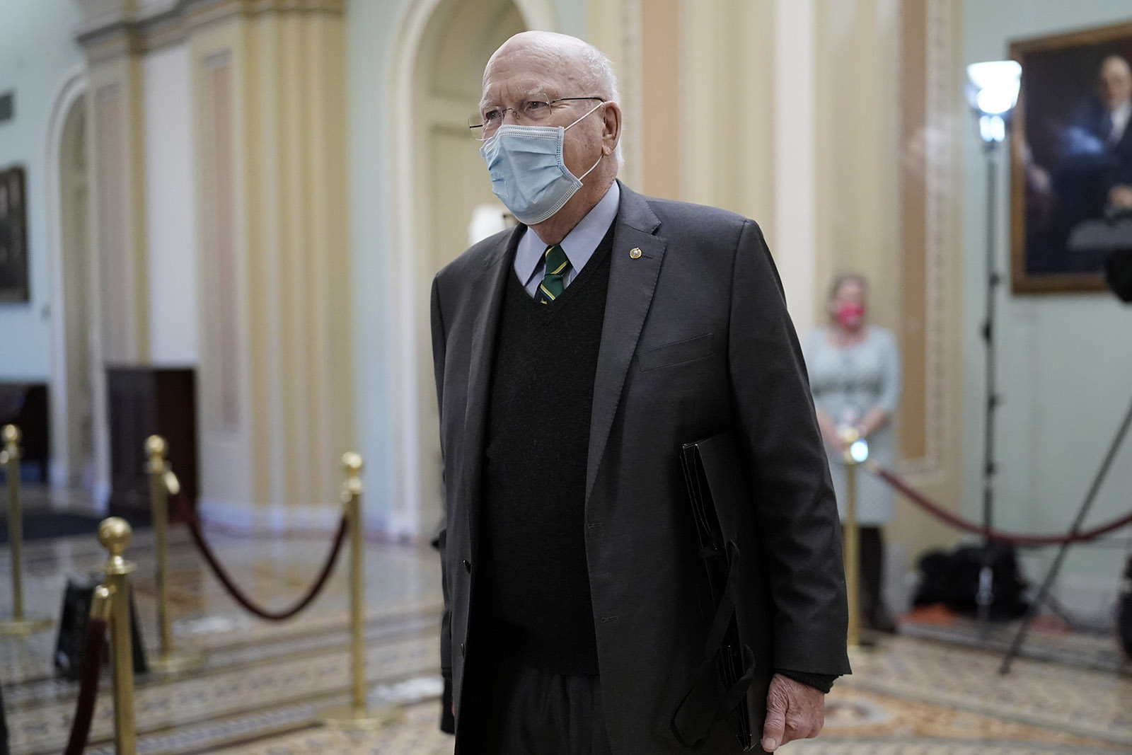 Sen. Patrick Leahy leaves the Senate Chamber after presiding over the second impeachment trial of former President Donald Trump, at the Capitol in Washington on Saturday, February 13.
