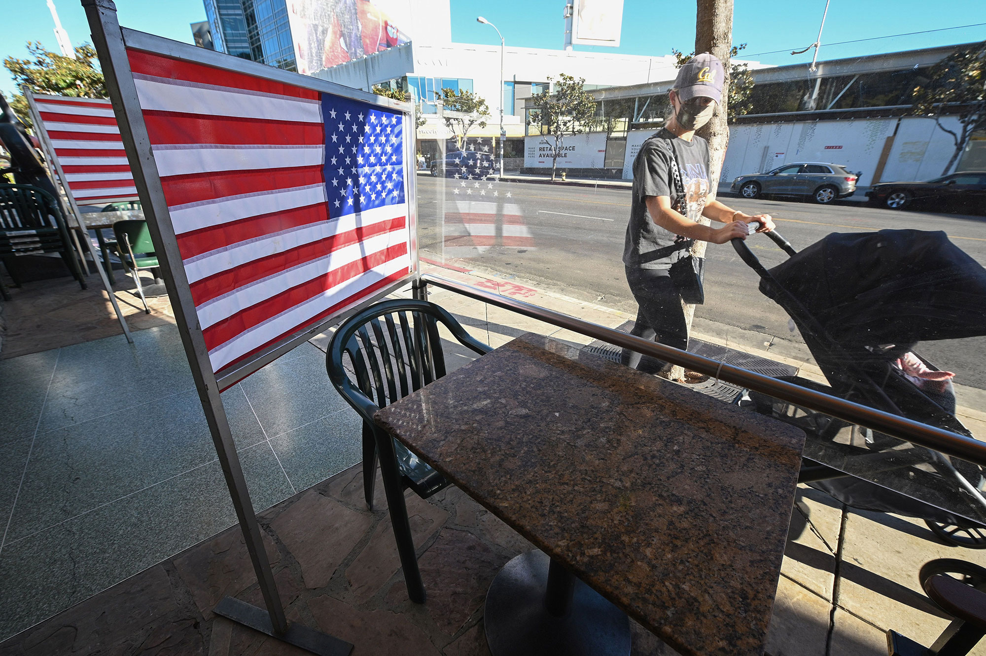 Tables are empty at a diner in West Hollywood, California, on November 30.