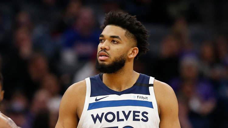 Minnesota Timberwolves center Karl-Anthony Towns during the second half of an NBA basketball game against the Sacramento Kings in Sacramento, California, Monday, February 3.