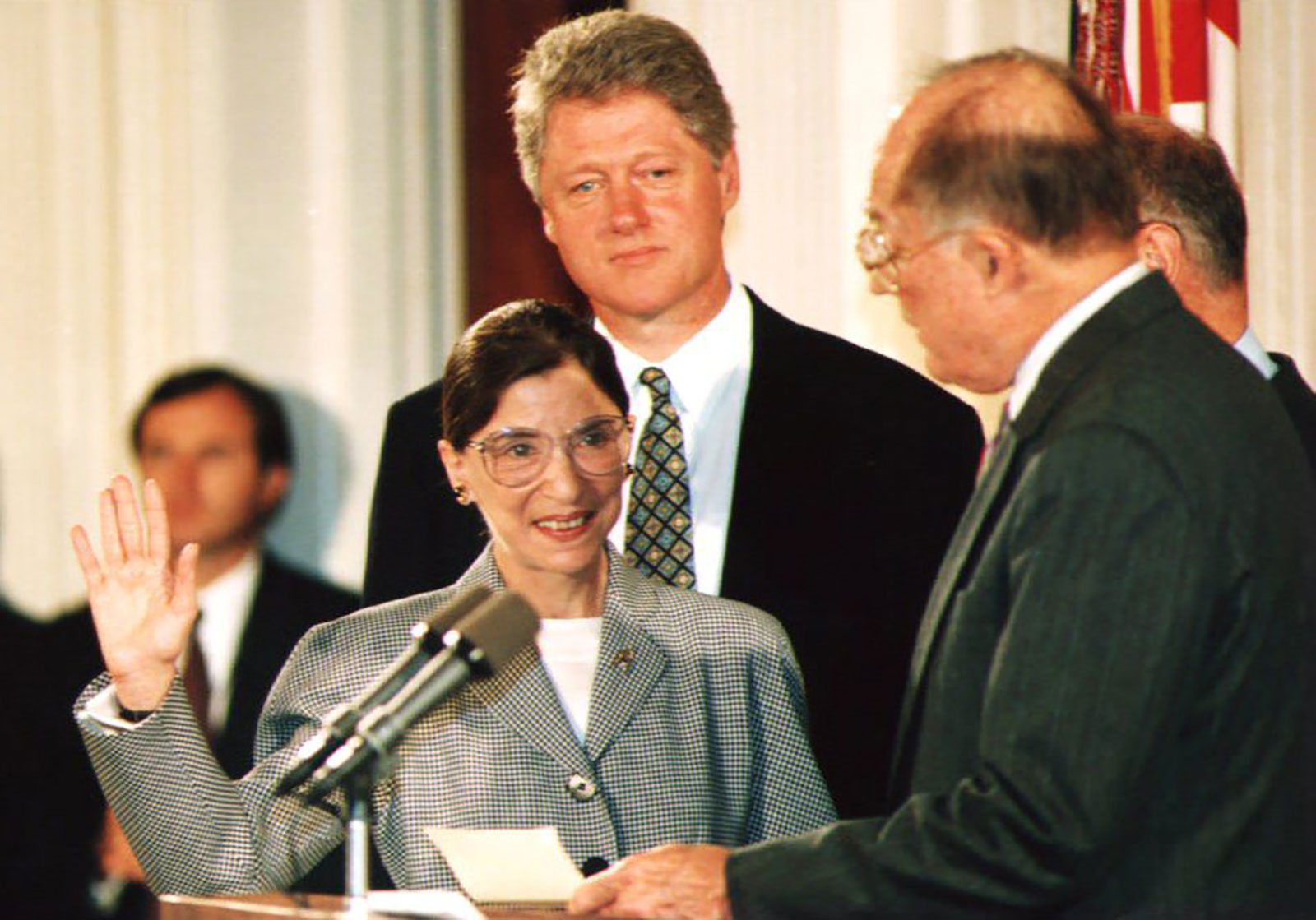 Chief Justice William Rehnquist, right, administers the oath of office to newly-appointed US Supreme Court Justice Ruth Bader Ginsburg on August 10, 1993.