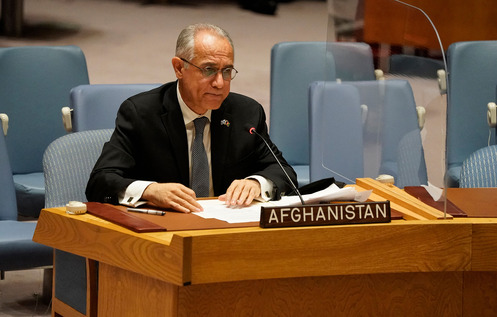 Permanent Representative of Afghanistan to the United Nations, Ghulam M. Isaczai speaks during a UN security council meeting on Afghanistan on August 16 at the United Nations in New York.