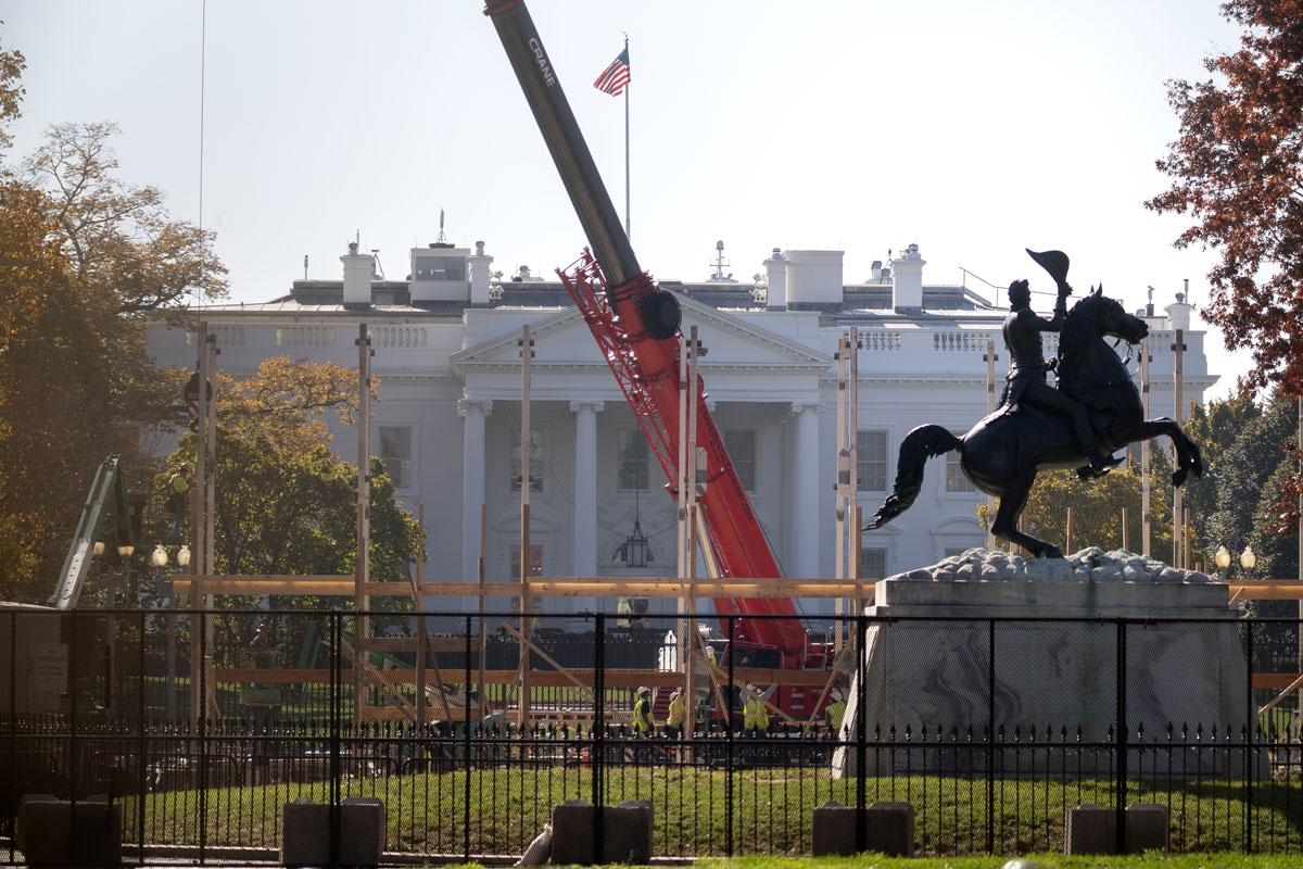 Workers prepare for the Presidential inauguration outside the White House in Washington, D.C. on November 9.