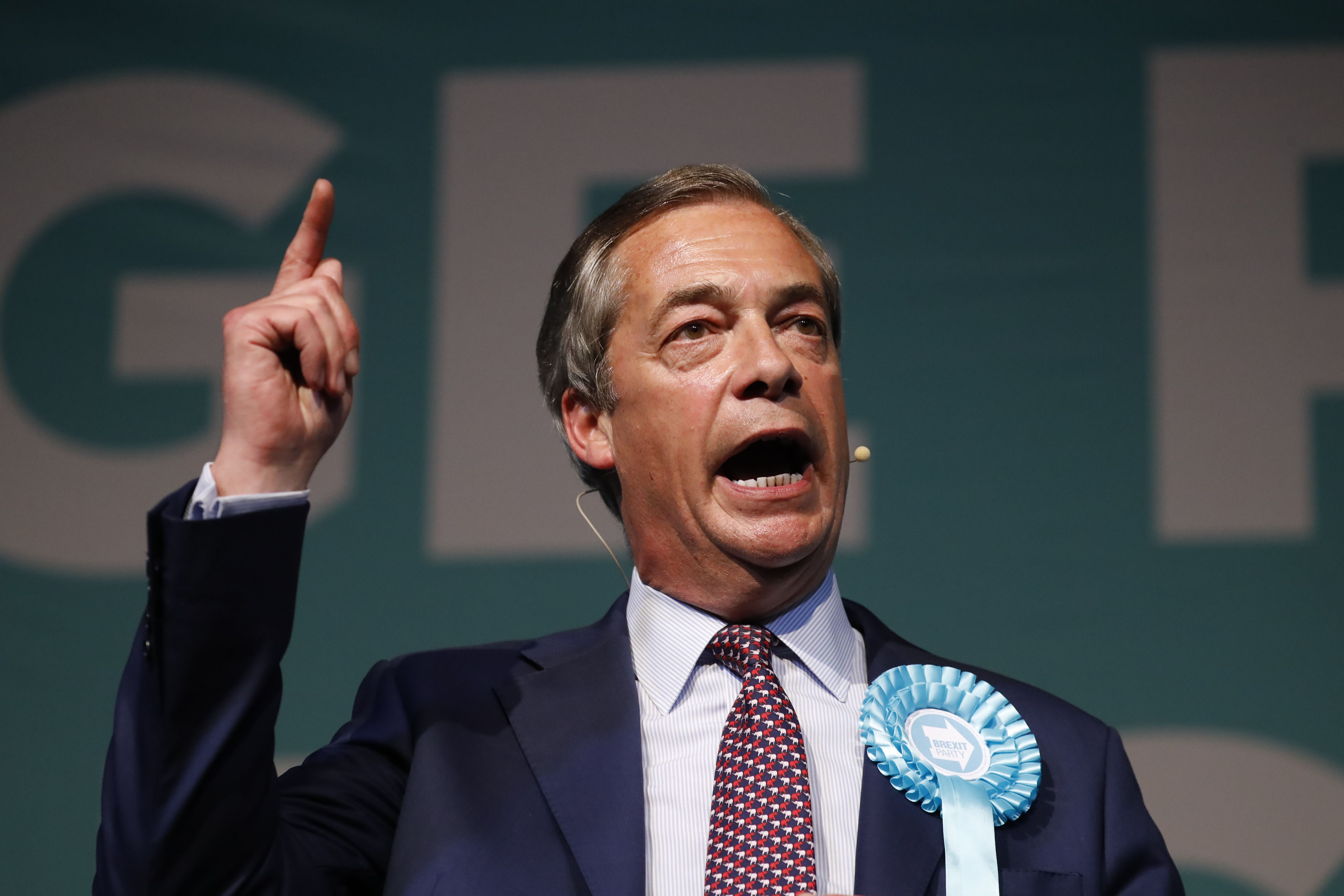 Brexit Party leader Nigel Farage addresses a European Parliament election campaign rally at Olympia in London on May 21.