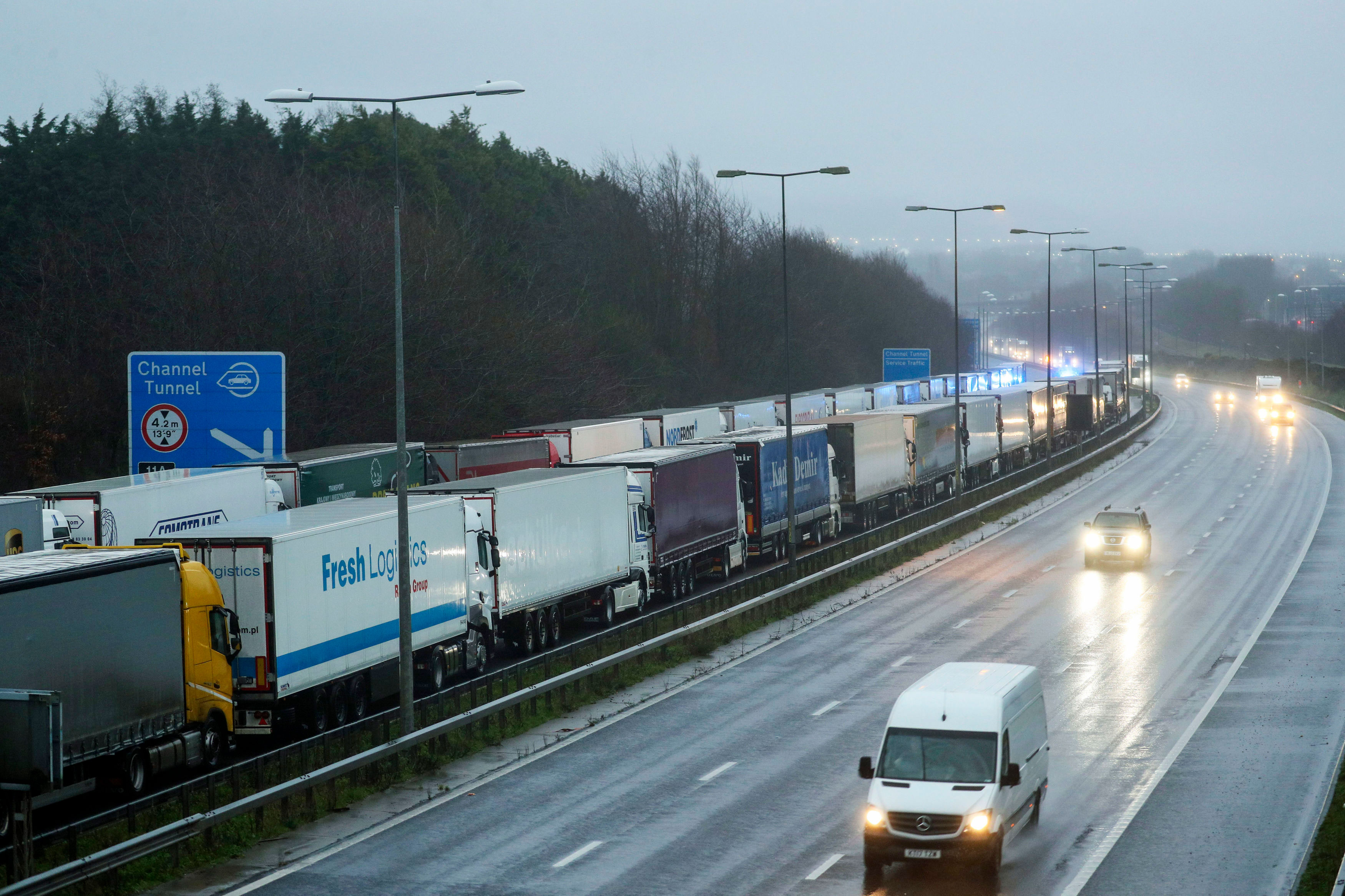 Lorries are parked on the M20 near Folkestone in Kent, England, as part of Operation Stack on December 21.