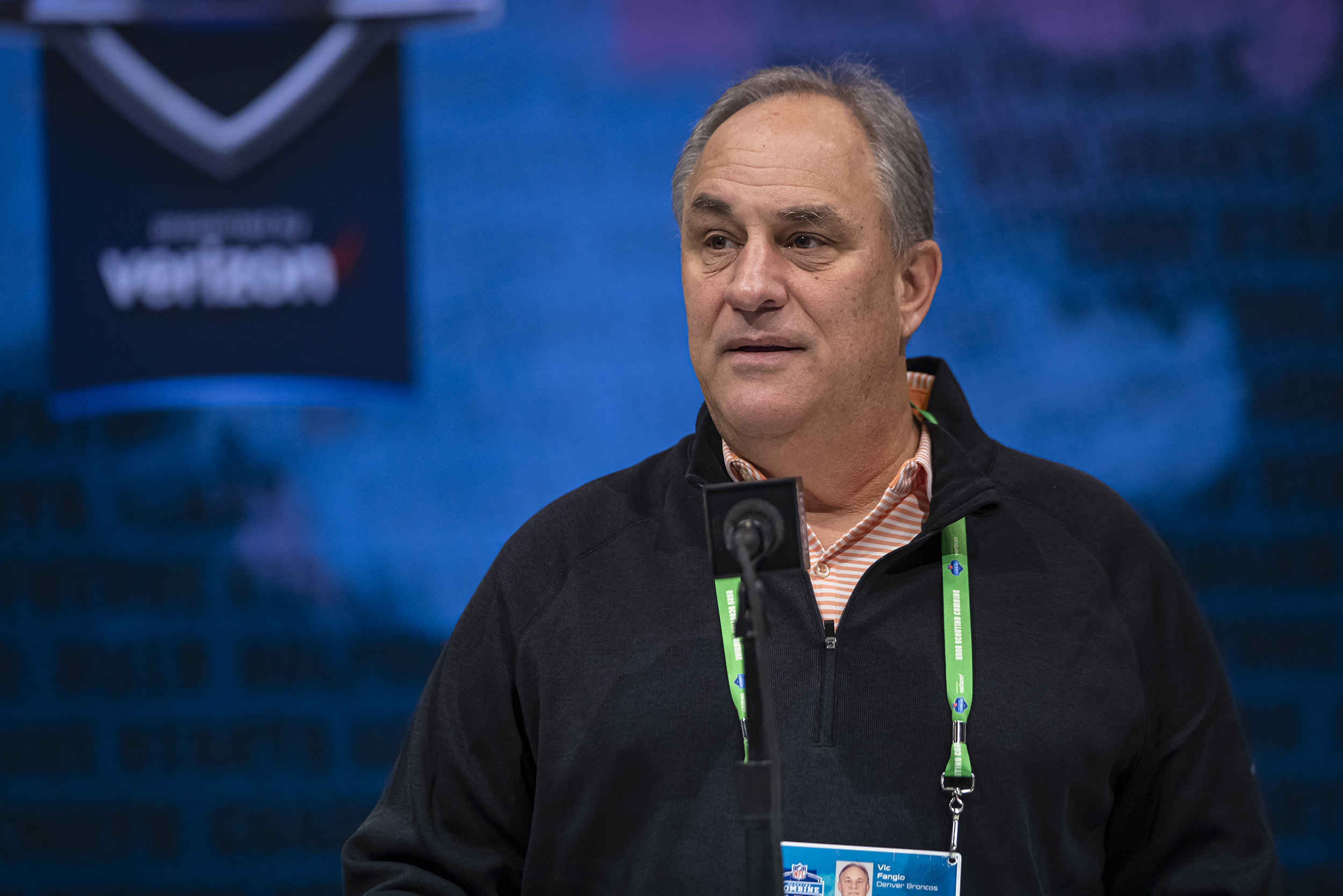 Head coach Vic Fangio of the Denver Broncos speaks to the media at the Indiana Convention Center  in Indianapolis, Indiana, on February 25.