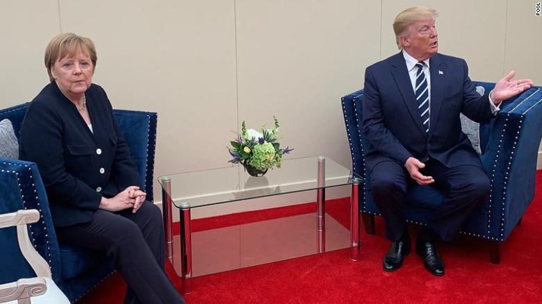 Chancellor Merkel and President Trump ahead of their short meeting.