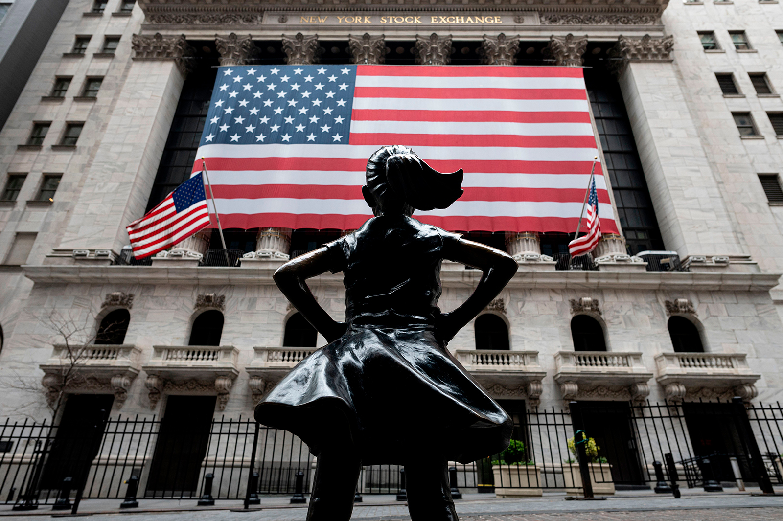 The New York Stock Exchange is pictured on April 20, 2020 at Wall Street in New York City.