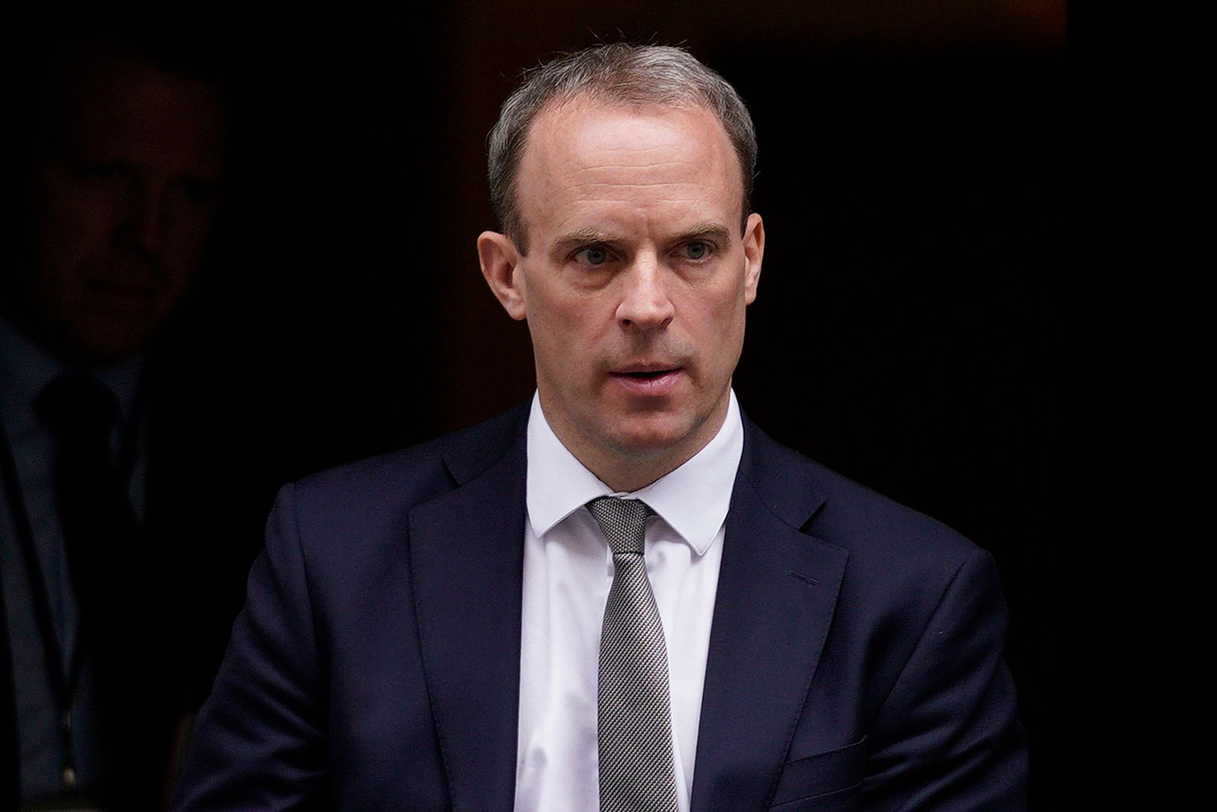 Britain's Foreign Secretary Dominic Raab leaves 10 Downing Street after a Cabinet meeting on March 17.