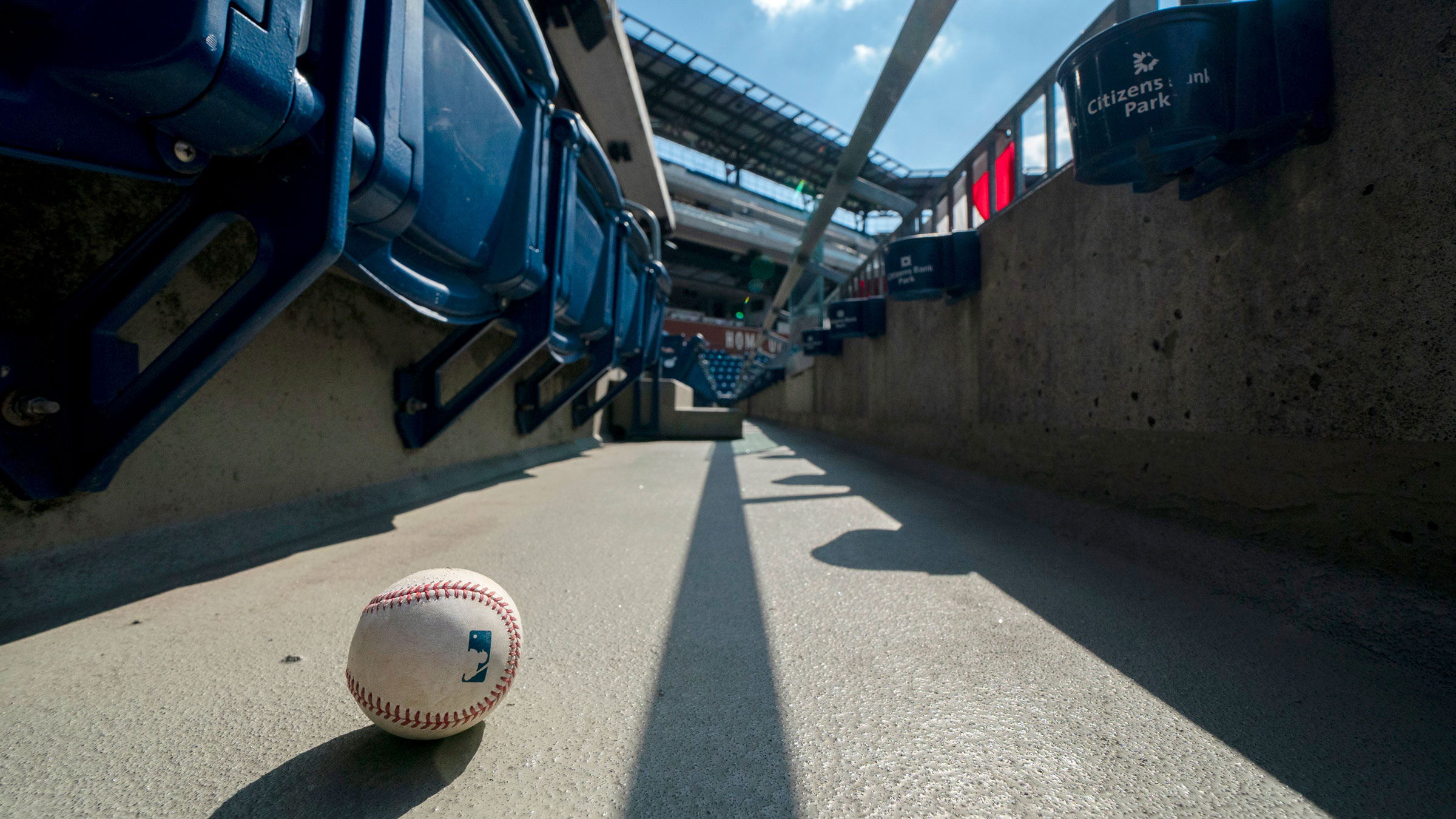 A foul ball sits inside Citizens Bank Park, where the Miami Marlins were playing the Philadelphia Phillies on Sunday.