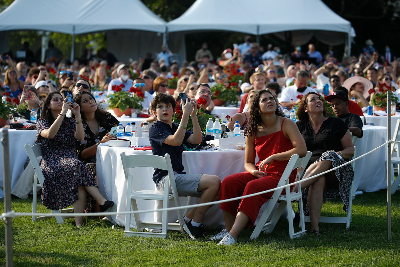 Guests attend the Salute to America event at the White House on Saturday.