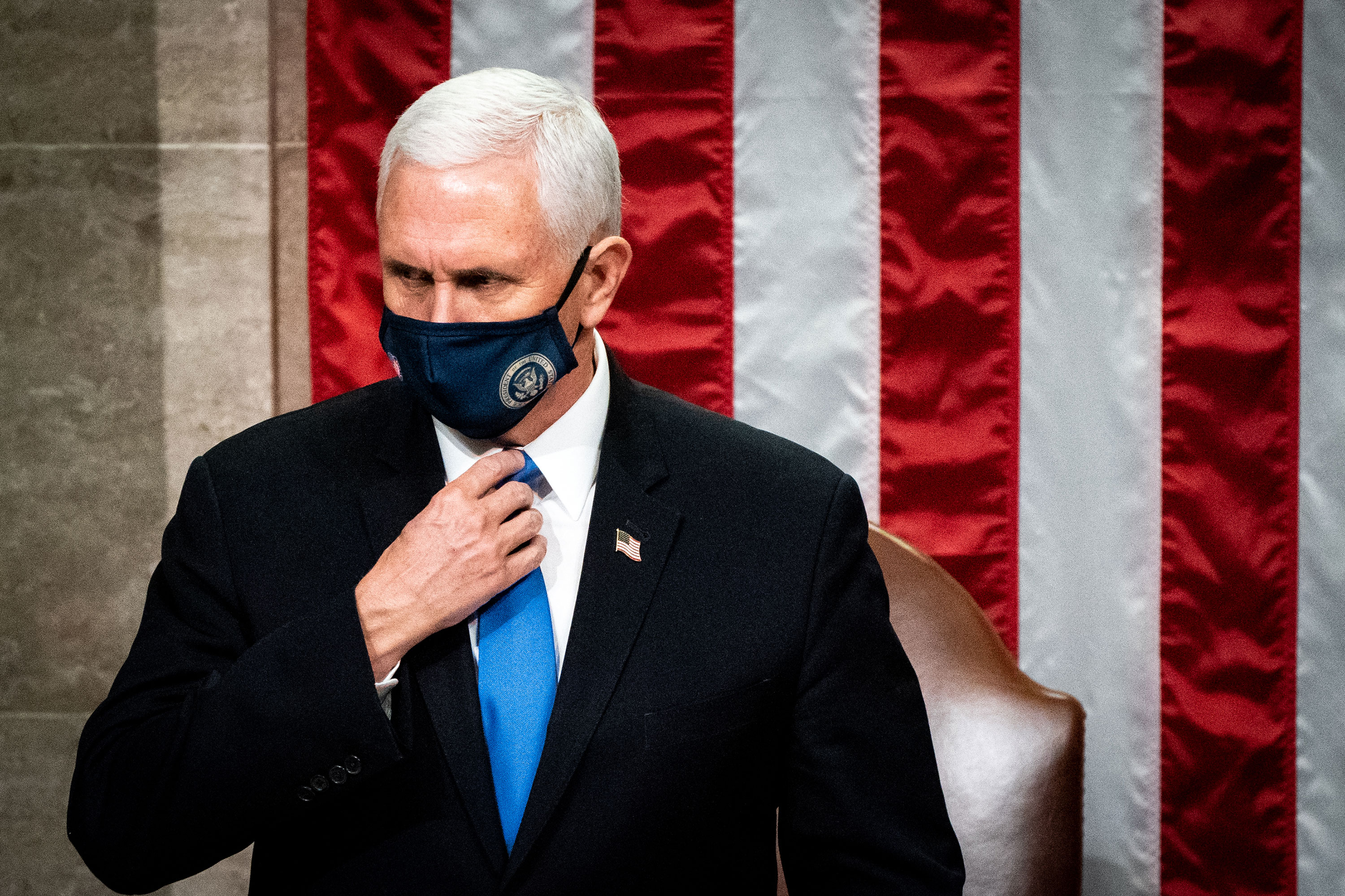 Vice President Mike Pence is seen presiding over the joint session of Congress on January 6.