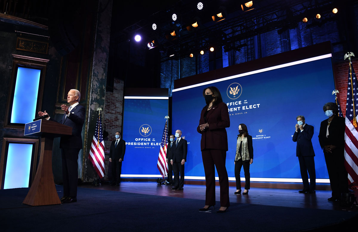 President-elect Joe Biden speaks during a cabinet announcement event in Wilmington, Delaware, on November 24.