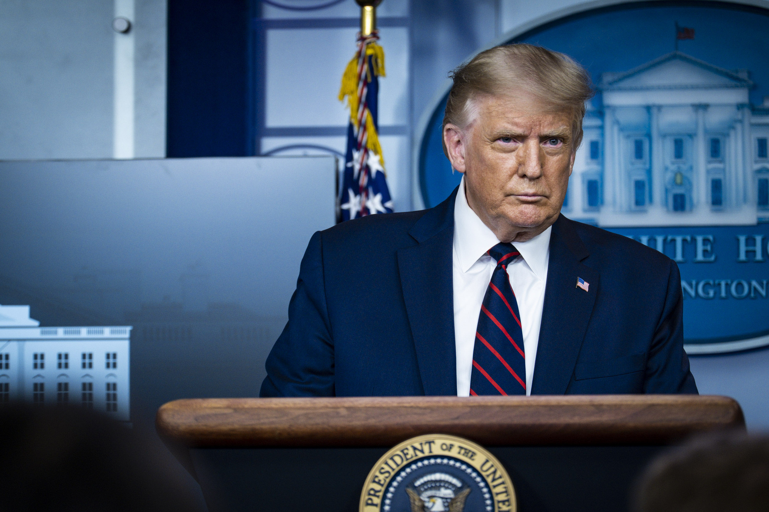 President Donald Trump holds a press conference at the White House on August 23, to announce that the Food and Drug Administration is issuing an emergency authorization for blood plasma as a potential treatment for Covid-19.