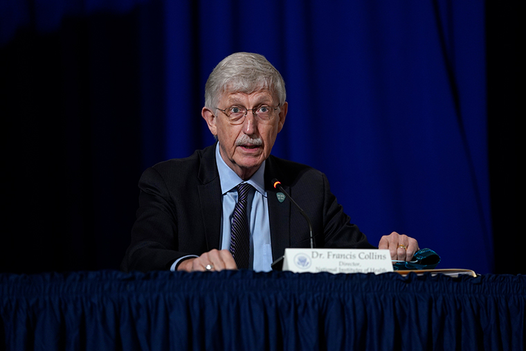 National Institutes of Health Director Dr. Francis Collins speaks during a roundtable at the American Red Cross national headquarters on Thursday, July 30, 2020, in Washington.