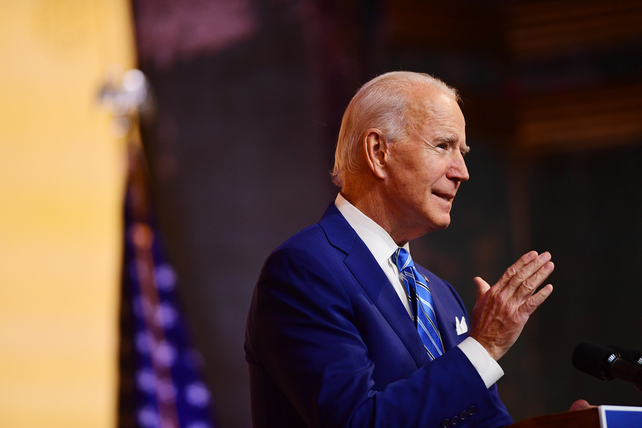 President-elect Joe Biden delivers a Thanksgiving address at the Queen Theatre on November 25, in Wilmington, Delaware.
