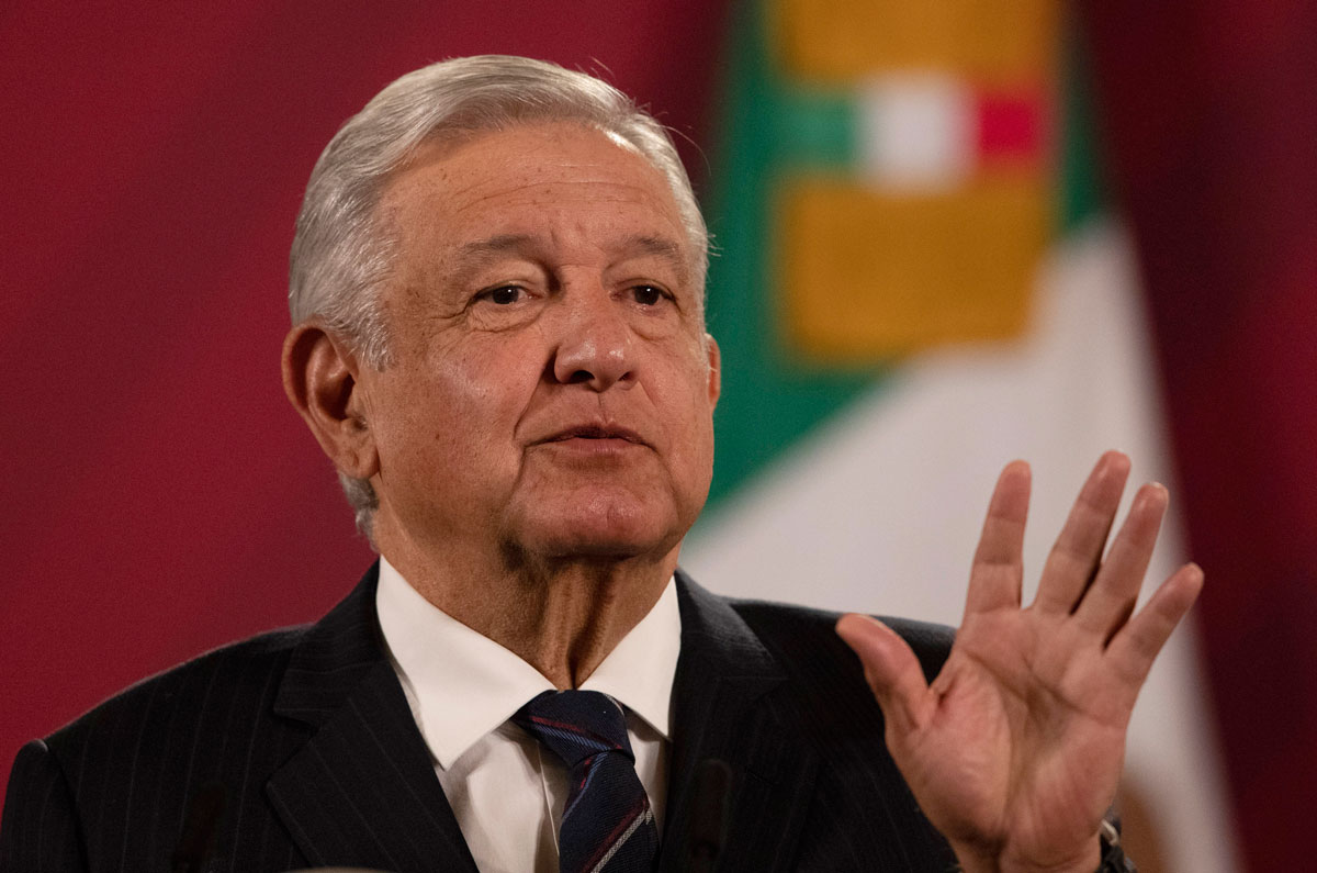 Mexican President Andres Manuel Lopez Obrador gives his daily, morning news conference at the presidential palace in Mexico City, on October 16.